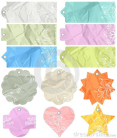 Twelve crumple  labels, vector