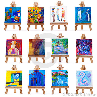 Twelve mini paintings on easels isolated on white