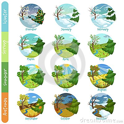 Free Twelve Months Of The Year Set, Four Seasons Nature Landscape Winter, Spring, Summer, Autumn Vector Illustrations Royalty Free Stock Images - 108434629
