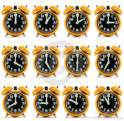 Twelve orange hours alarm clock