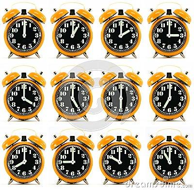 Twelve orange hours alarm clock