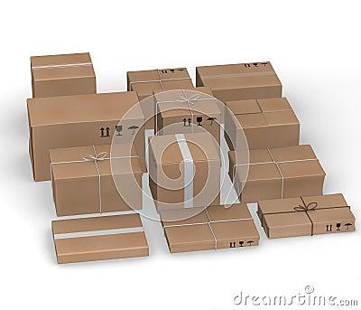 Twelve  paper packages