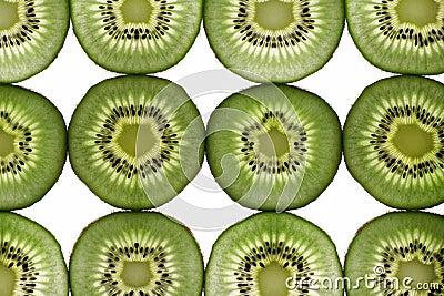 Twelve segments of a kiwi fruit