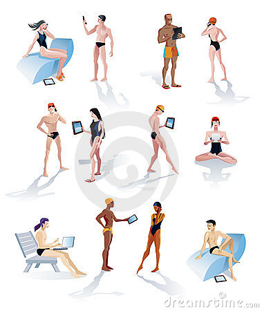 Twelve Swimmers With Digital Tablets
