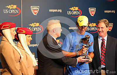 Twelve times Grand Slam champion Rafael Nadal during 2013 Emirates Airline US Open Series trophy presentation Editorial Photo