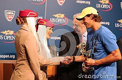 Twelve times Grand Slam champion Rafael Nadal during 2013 Emirates Airline US Open Series trophy presentation Editorial Image