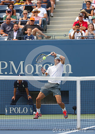 Twelve times Grand Slam champion Rafael Nadal during  first round match at US Open 2013 against Ryan Harrison Editorial Image
