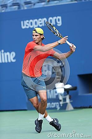 Twelve times Grand Slam champion Rafael Nadal practices for US Open 2013 at Arthur Ashe Stadium Editorial Stock Image