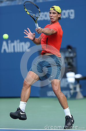 Twelve times Grand Slam champion Rafael Nadal practices for US Open 2013 at Arthur Ashe Stadium Editorial Image