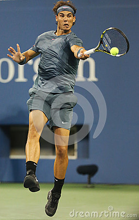 Twelve times Grand Slam champion Rafael Nadal during  second round match at US Open 2013 against Rogerio Dutra Silva Editorial Stock Image