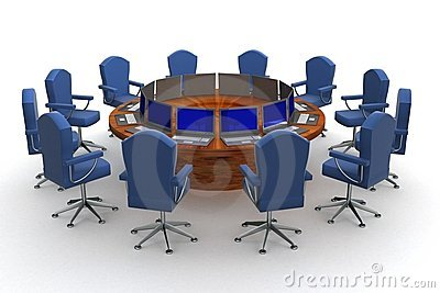 Twelve workplaces behind a round table.