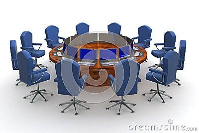 Twelve workplaces behind a round table.
