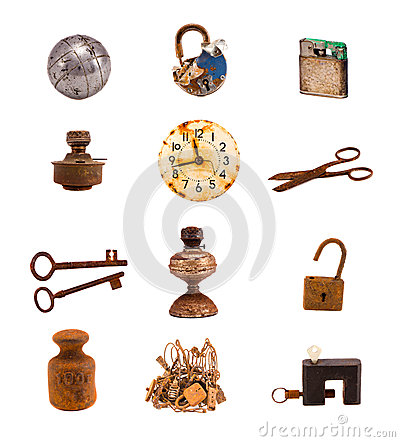 Twelwe old objects and tools isolated on white royalty for Old objects