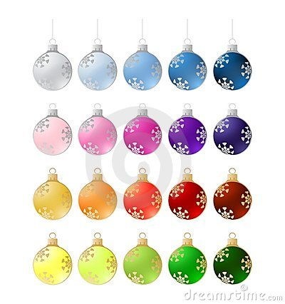 Twenty colorful christmas balls - illustration