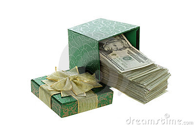 Twenty Dollar Bills Coming out of a Green Gift Box