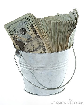 Twenty Dollar Bills in Silver Bucket