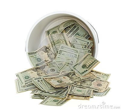 Twenty Dollar Bills Spilling out of Bucket
