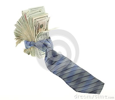 Twenty Dollar Bills Tied up with a Neck tie