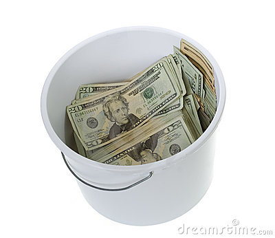 Twenty Dollar Bills in White Cleaning Bucket