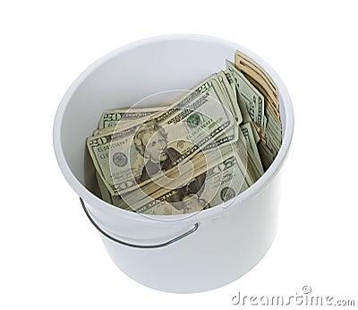 Twenty Dollar Bills in White Cleaning Bucket