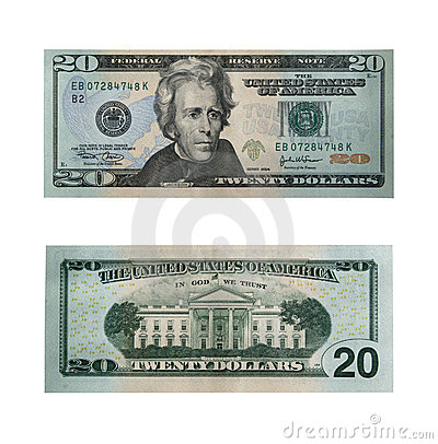 Free Twenty Dollars With Path Royalty Free Stock Photos - 642888