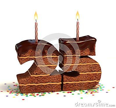 Twenty-fifth birthday or anniversary cake