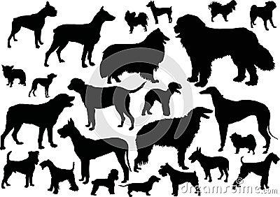 Twenty four dog silhouettes