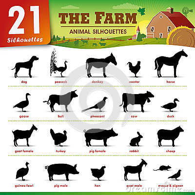 Free Twenty One Farm Animal Silhouettes Stock Photography - 47162252