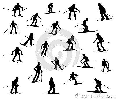 Twenty one skiers