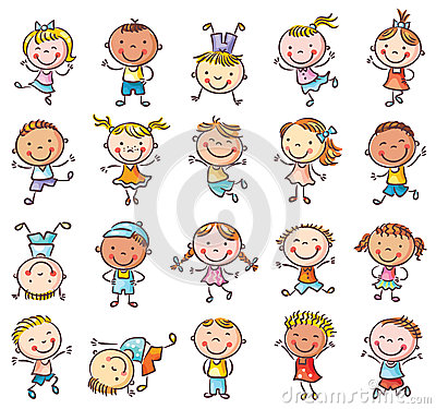 Twenty sketchy happy kids jumping with joy Vector Illustration