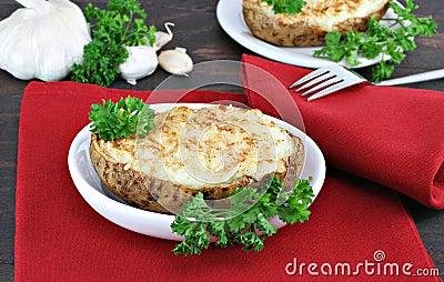 Twice Baked and Stuffed Garlic Potatoes