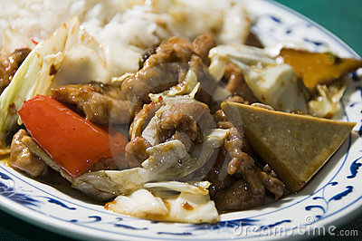 Twice cooked pork with mixed chinese vegetables