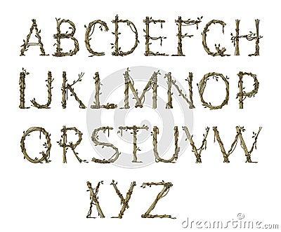 Twig alphabet, elegant