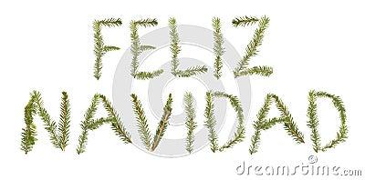Twigs forming the phrase  Feliz Navidad