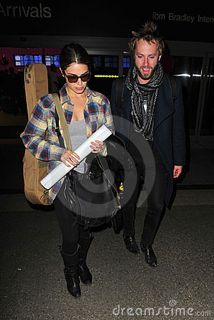 Twilight actress Nikki Reed at LAX with husband Editorial Photography