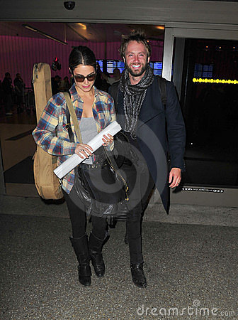 Twilight actress Nikki Reed at LAX with husband Editorial Stock Photo