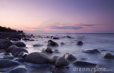 Twilight coast scene. Swedish coastline.