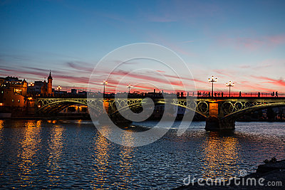 Twilight at Isabel II Bridge in Seville, Spain