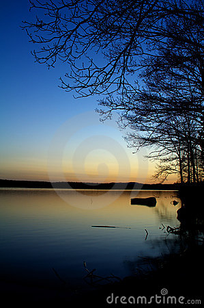 Twilight on lake
