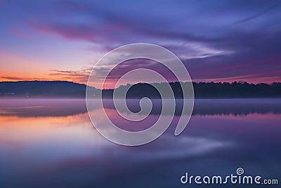 Twilight and Misty Lake