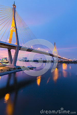 Free Twilight Of Suspension Bridge (Bhumibol Bridge) Royalty Free Stock Images - 53672779