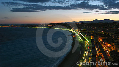 Twilight over Nice, France