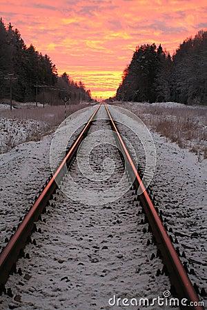 Free Twilight Railway Royalty Free Stock Images - 3446219
