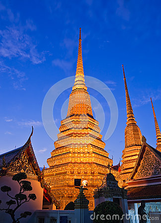 Twilight scene of Buddhist pagoda