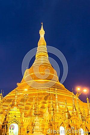 Twilight at shwedagon pagoda ,  Yangon in Myanmar (Burmar)