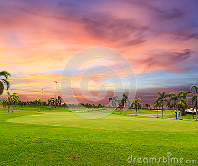 Twilight time  on golf field