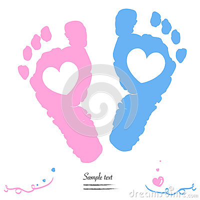 Free Twin Baby Girl And Boy Feet Prints Arrival Greeting Card Stock Image - 51928081