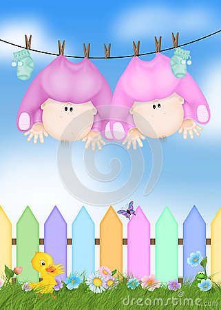 Twin Baby Girls on clothesline