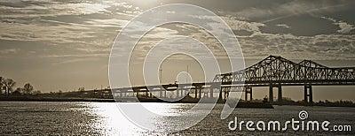 Twin bridges over Mississippi River, New Orleans