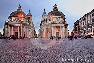 Twin Churches on Piazza del Popolo Editorial Image